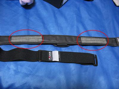Polar (ポラール) FT4のトランスミッター。水で濡らし、アンダーバストに装着することで心拍が計測されます