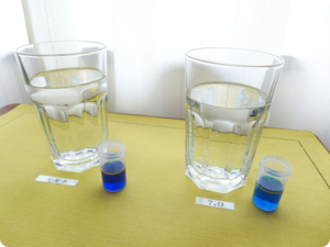 【3時間後】ルルドと水素水7.0の水素濃度をコップに注いで時間毎に測ってみた