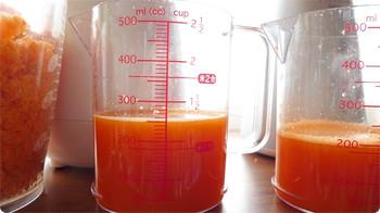 にんじん500gでどれだけのジュースを絞れるか(ヒューロム)