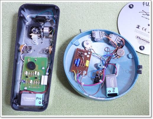 9V電池は主にアダプター未対応のファズフェイスやワウ用に内部