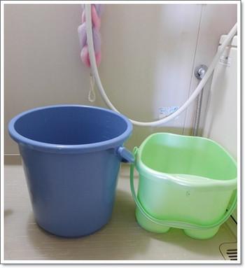 足湯用バケツを替えた[水素水で足湯]